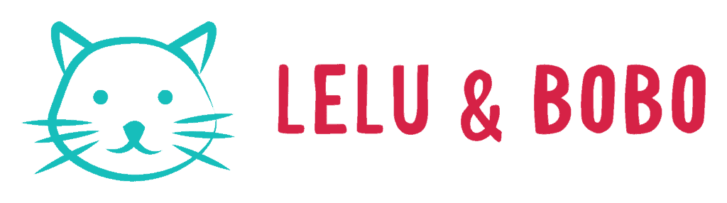Lelu & Bobo logo - outline of cat face in green with red lettering
